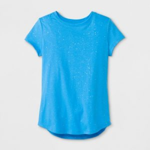Girls' Short Sleeve Sparkle Crew Neck T-Shirt – Cat & Jack™ Blue